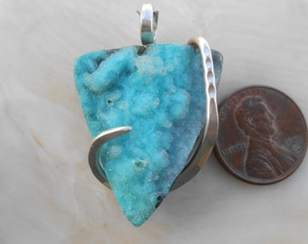 SOLDledredradioinfruley Chrysocolla Druzy Silver Wrapped Pendant sold     sold