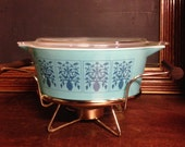 RESERVED:  Hard To Find Pyrex Saxony / Tree Of Life /Turquoise Pyrex 2 1/2 Quart Casserole with Lid