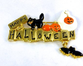 Vintage Signed and Scary Halloween Pin