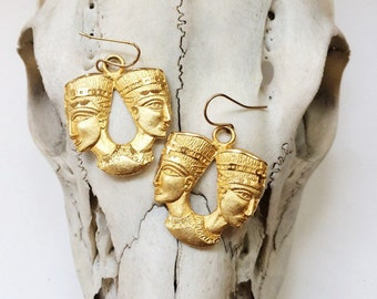 Beautiful egyptian revival double pharaoh gold fill earrings