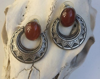 Egyptian revival etched earrings