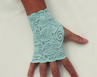 Aqua Lace Gloves   - Seafoam Stretch Lace Gloves