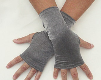 Silver Fingerless Gloves  - Metallic Silver Gloves