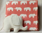 Organic blanket with an eco friendly elephant toy, organic elephant, coral blanket, organic cotton baby blanket.