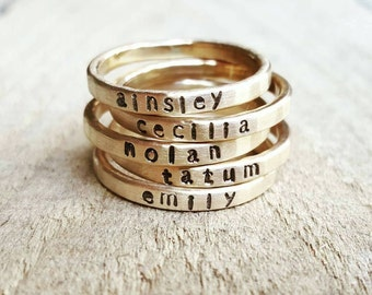 Personalized Hammered Stacking Skinny Name Ring in 14K gold, Gold Stacking ring, Gold name ring, Custom Name Ring, Gift for Mother