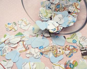United Kingdom Map Confetti Hearts - Choose from 250, 500, 750 or 1000 - Wedding Travel Decor