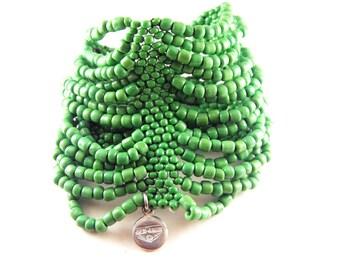 Vintage Bracelet Ben Amun Beaded Gauntlet Green Glass Seed Beads Very Wide