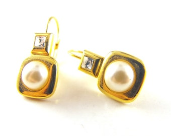 Vintage Earrings Classic Gold Tone Simulated Pearl Clear Crystal Accents Pierced