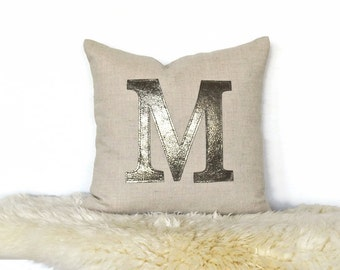 """Metallic Leather Personalized """"Initial"""" Pillow Cover - Lt. Natural / Antique Metal"""