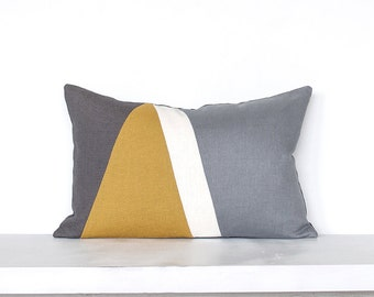 "Geometric ""Pyramid"" Colorblock Pillow Cover-  Mustard / Grey Combo"