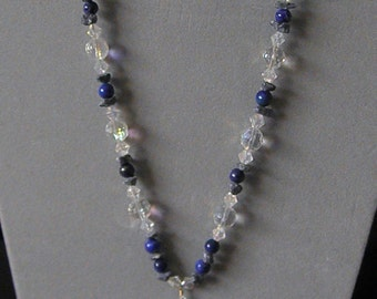 Lapis, Dazzling Crystals And Denim Lapis Pendant Necklace
