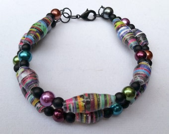 Colorful Paper Bead Bracelet and Earring Set