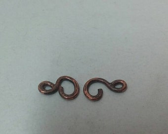 Y5 Copper Hook & Eye Clasps, Unique Handmade Copper Necklace Clasps Oxidized