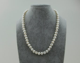 Bridal White Freshwater Cultured a Quality Pearl Necklace (6.5-7.5 mm), 18