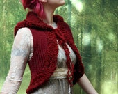 RESERVED The Genevieve Vest Hand Knit Wool Hooded Sleeveless Vest Women Clothing Boho Fashion British Wool Fur Trim and Ties Burgundy Red