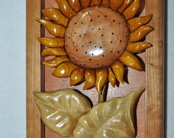 Decorative Intarsia Sunflower Wall Hanging - Depth Carved
