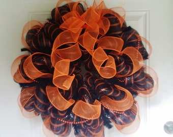 Halloween Wreath Deco Mesh - Orange Black Beads and Ribbon