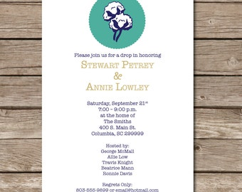 Cotton Drop-In Invitation Cotton Boll Wedding Shower Love Invite Party