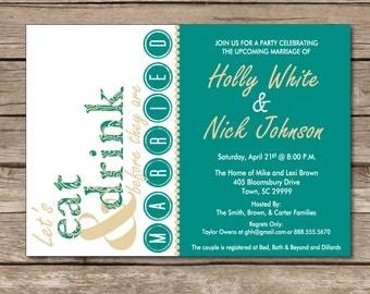 Engagement Party Invitation Wedding Friends Dots Eat Drink Married Digital Custom Print