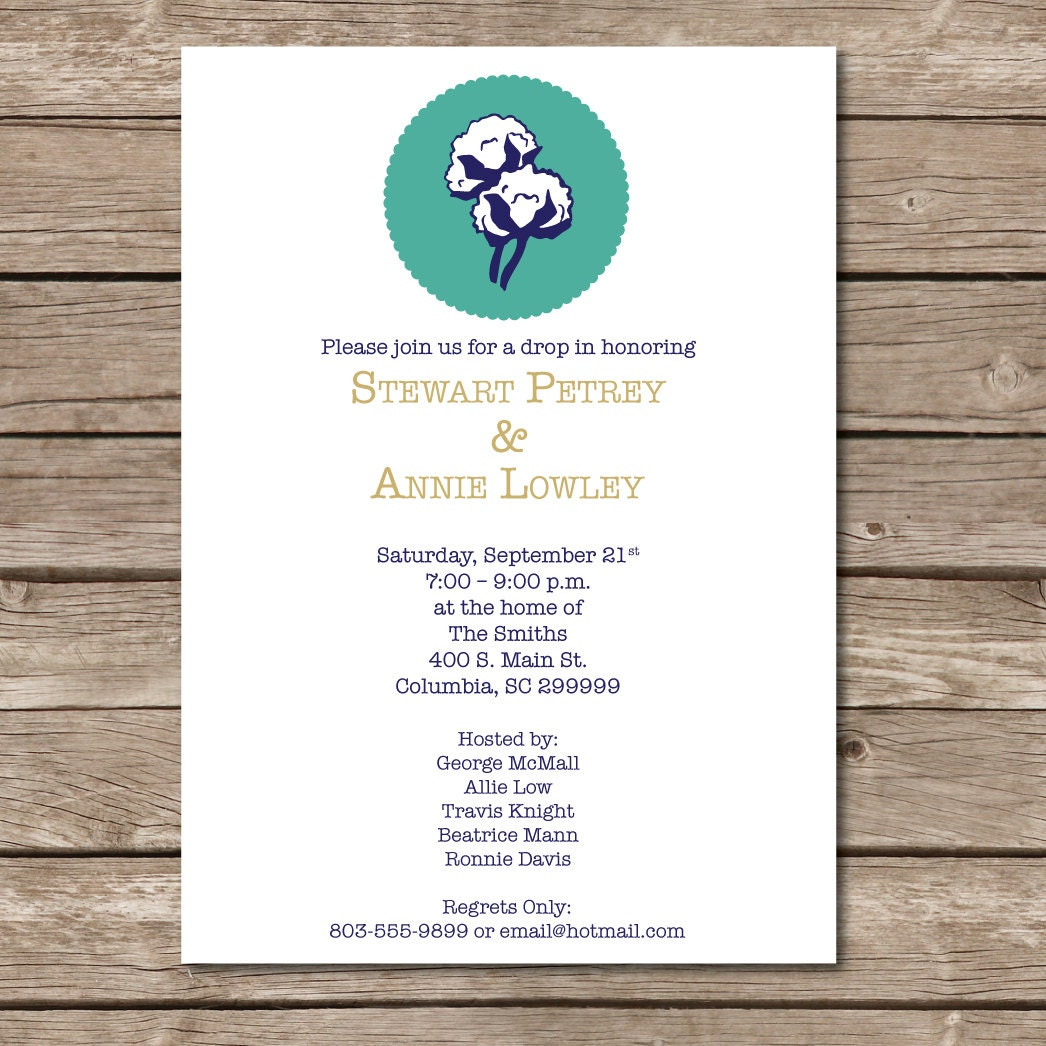 Cotton Drop-In Invitation Cotton Boll Wedding Shower Love