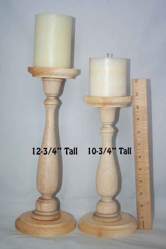 Unfinished wood pillar candlestick holders diy wedding accents tall candlestick holders - Unfinished wood candlestick holders ...