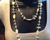 Chunky Shell and Pearl Long Three Strand Necklace