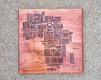 Engraved African Countries Wall Hanging