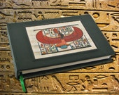 "Hand Crafted Blank Leather Book - ""Isis"" Egyptian Goddess on Papyrus - Perfect for a Journal or Sketchbook"