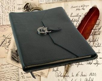 Large Black Leather Journal, Sketchbook or Book of Shadows