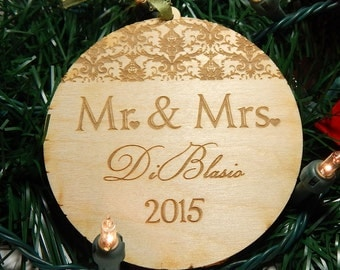 Christmas Ornaments, Our first Christmas, wooden Rustic Christmas Ornament, Personalized, Mr. and Mrs.