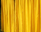 Vintage Gold Curtains, Large Yellow Gold Textured Curtains, Mid Century Golden Yellow Drapes, Retro Pair of Yellow Gold Curtains, Drapes