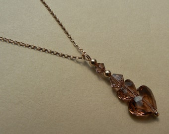 Valentine 14ct rose gold filled blush pink Swarovski elements crystal heart pendant