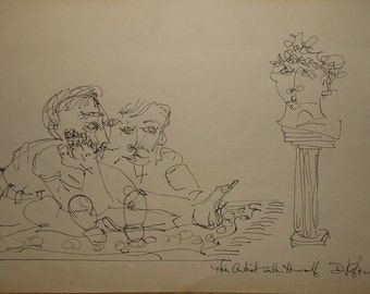 vintage ink drawing titled the artist with himself dated signed April 1968