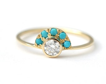 Diamond Engagement Ring with Turquoise - Alternative Engagement Ring - Turquoise Ring - Round Diamond Ring - 18k Solid Gold