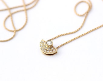 Tiny Diamond Necklace, Bezel Diamond Necklace, Simple Diamond Necklace, Diamond Halo Necklace, 14k gold