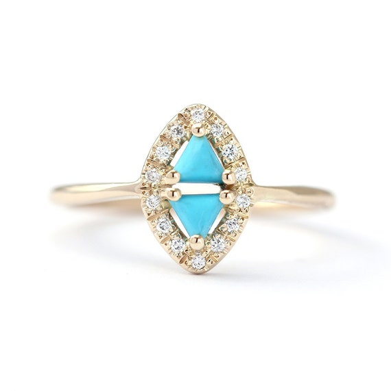 triangle turquoise ring with diamonds rhombus ring by artemer