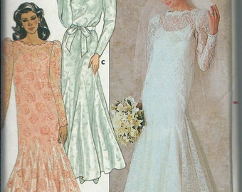 Bridal Gown Bridesmaid Mother-Of-Bride Dress Pattern Butterick 4414 Sizes 8, 10,  12, UNCUT