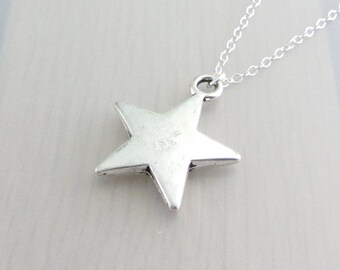Silver Solid Star Charm Necklace, Silver Star Pendant