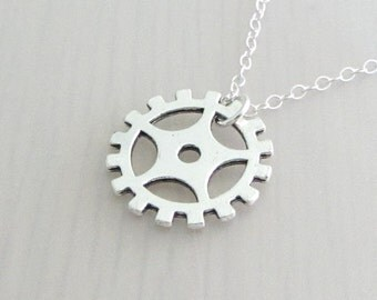 Silver Steampunk Gear Charm Necklace, Gear Pendant, Steam Punk Gear Silver Plated Chain Necklace, Cog Necklace