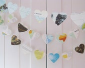 BUY 2 GET 1 FREE Vintage Heart Garland 10ft Long, Eco-friendly Garland, Travel Decoration, Recycled Banner, Home Decor,Bridal Shower