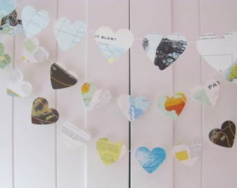 Vintage Heart Garland 10ft Long, Eco-friendly Garland, Travel Decoration, Recycled Banner, Home Decor,Bridal Shower