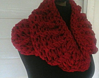 Chunky  double  loop infinity  scarf  cranberry