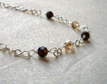 Susan - Brown & Beige Crystal Necklace, Ready to Ship