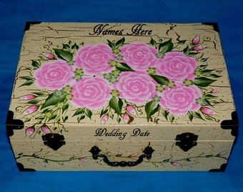 Custom Painted Wedding Keepsake Box Gold Wooden Suitcase Personalized Love Letter Box Wood Gift Card Box White Anniversary Shabby Chic Box