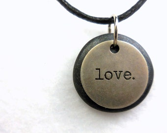Love Necklace, Word Pendant, Polymer Clay Inspirational Jewelry