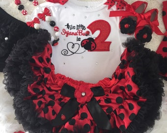 4-pcs set Ladybug Birthday outfit-include Personalised Top,skirt,headband, Shoes
