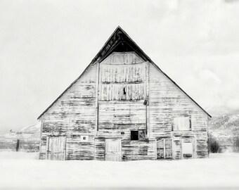 Country Barn Photography, Rustic Farmhouse Decor, Wall Art, Winter Landscape Photography, Barn Picture, Black & White, Sepia | 'White'