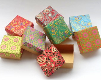 Wedding favor box,Packaging box, Bridesmaid Gift box -10 assorted Indian print and Gold , Jewelry Packaging Boxes, kraft boxes