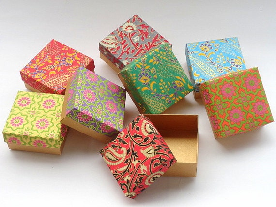 Gift Packaging Ideas For Indian Weddings : ... Gift box -10 assorted Indian print and Gold , Jewelry Packaging Boxes