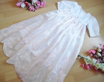 Christening gown embroidered varioussizes, 100% cotton / lace polyester ,2 colors